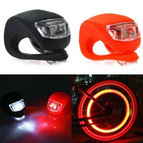 2x Safety Bicycle Bike Cycling Silicone LED Head Front Rear Wheel Light Lamp GA