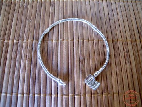 Bracciale per Charms Perline Foro Largo Supporto Base Metallo Nichel Free 17cm