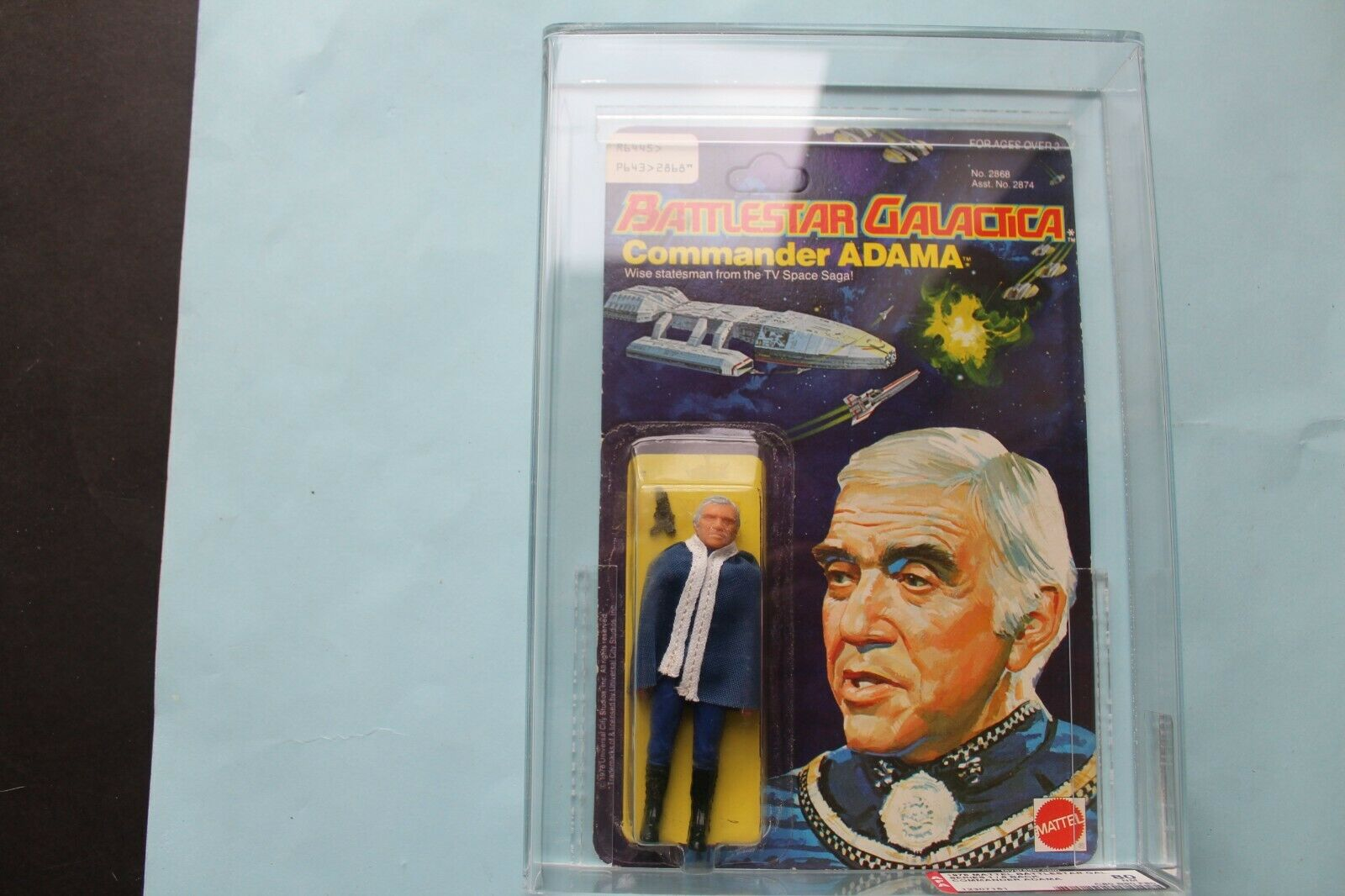 battlestar Galactica ,ADAMA  UKG MOC  AFA 80 Graded  Action Figure Mattel 1978