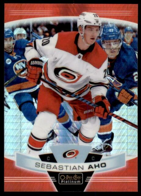 2019-20 OPC Platinum Red Prism #134 Sebastian Aho /199 - Carolina Hurricanes
