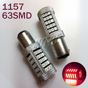 BAY15D 1157 63SMD 3528 RED LED Bulb Car Truck Brake signal Lights Lamp for Buick