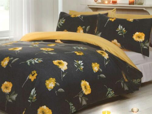 Floral Flower Rose Bedding Set Yellow Black Single Double King Duvet Cover