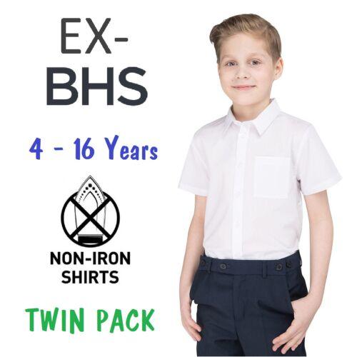 Bianco Maniche Lunghe Corte Non Ex Bhs da Scuola Bambino Camicia Confezione 2