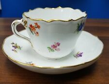 MEISSEN china SCATTERED FLOWERS pattern demitasse cup & saucer gold trim