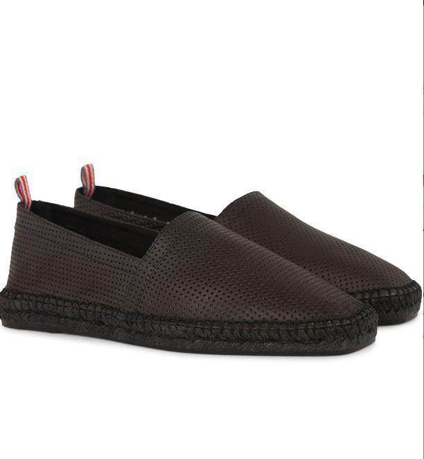 Castañer Pablo Perforated Leather Espadrilles Black UK 6.5 EU 40 LN088 HH 16