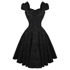 Hearts-amp-Roses-London-Black-Tattoo-1950s-Rockabilly-Vintage-Party-Prom-Dress-UK