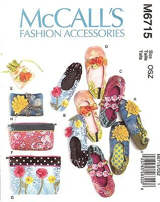 PATTERN for Fabric Slippers shoes bags accessories McCalls 6715 Renaissance DIY