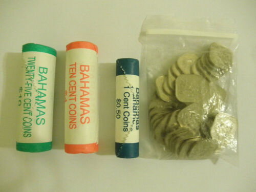 25 Cent 10 Cent Penny Uncirculated Bahamas Coin Rolls Pack 15 Cent Circuculate