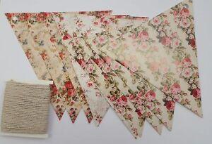 Blumenmuster-Karte-Fahnentuch-Heimwerker-Set-Vintage-Rosenmuster-Hochzeitsparty