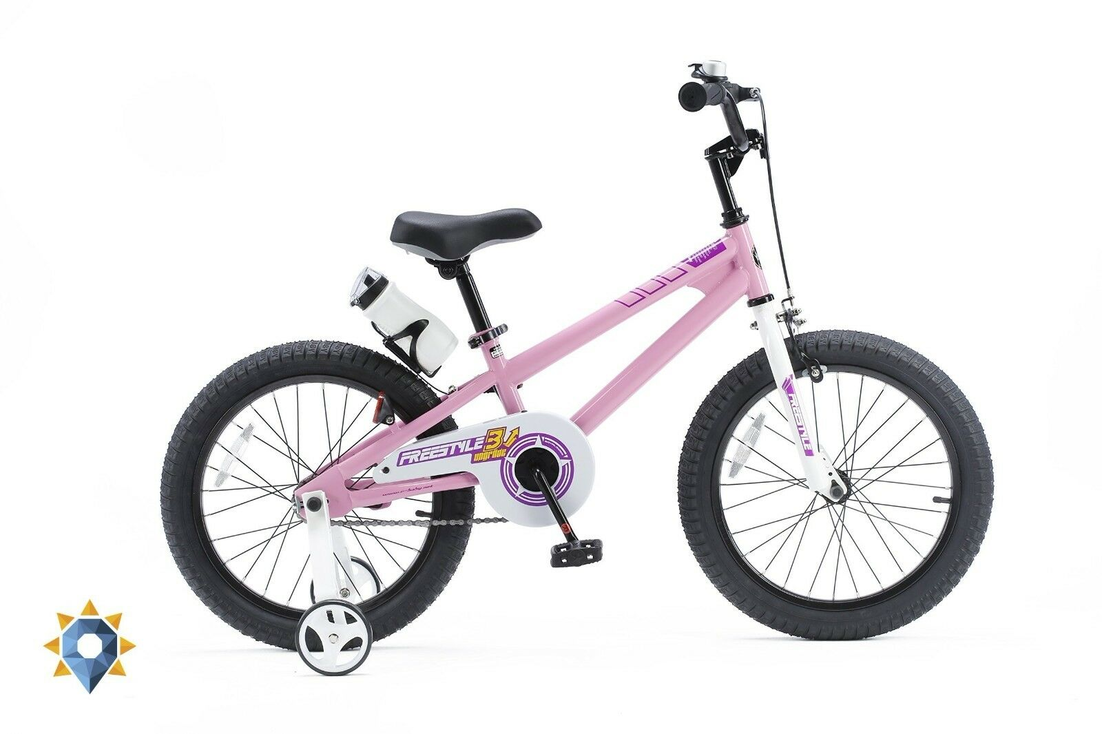 Kids Bike 18 Inch Girls Hot Pink Bmx Bicycle Training Wheels Freestyle RoyalBaby
