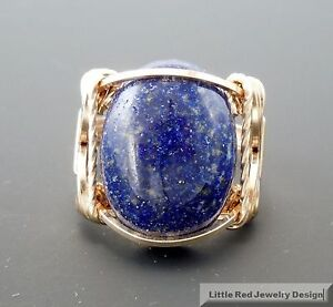 14 k Gold Filled Lapis Lazuli Cabochon Wire Wrapped Ring