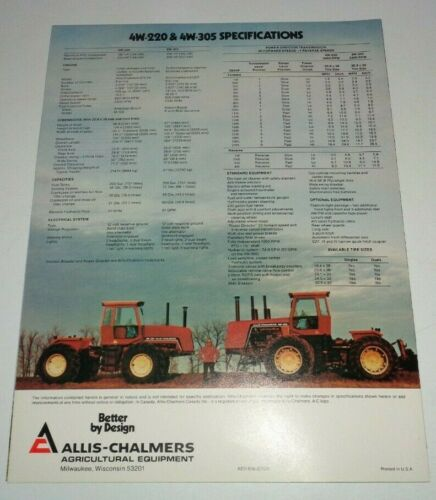 *Allis Chalmers 4W-220 4W-305 Tractor Sales Brochure Dealers Literature AC