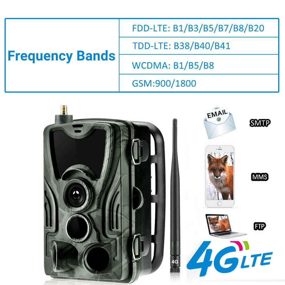 4G MMS SMTP Hunting  Trail Camera HC-801LTE Wildlife 16MP 1080P IP65 Solar Panel  unique shape