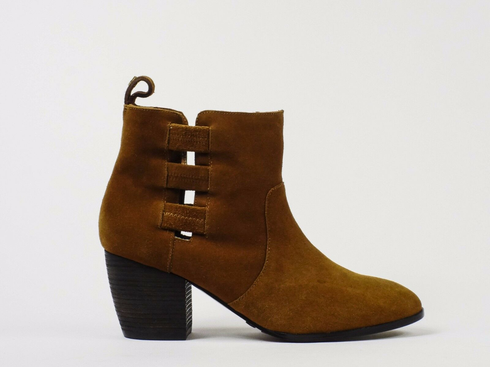 Cynthia Vincent Suede Cutout Booties Leather Rust Brown Size 10  325
