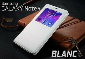 Housse-Etui-Flip-Cover-BLANC-Pour-Samsung-Galaxy-Note-4-NON-S-VIEW