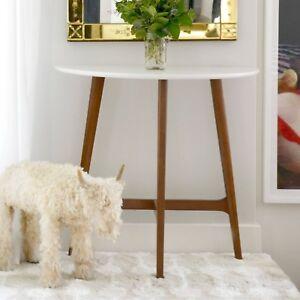 Groovy Details About Modern Mid Century Console Sofa Table White Top High Sheen Wood Legs Half Moon Creativecarmelina Interior Chair Design Creativecarmelinacom