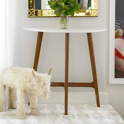Modern Mid Century Console Sofa Table White Top High Sheen Wood Legs ...