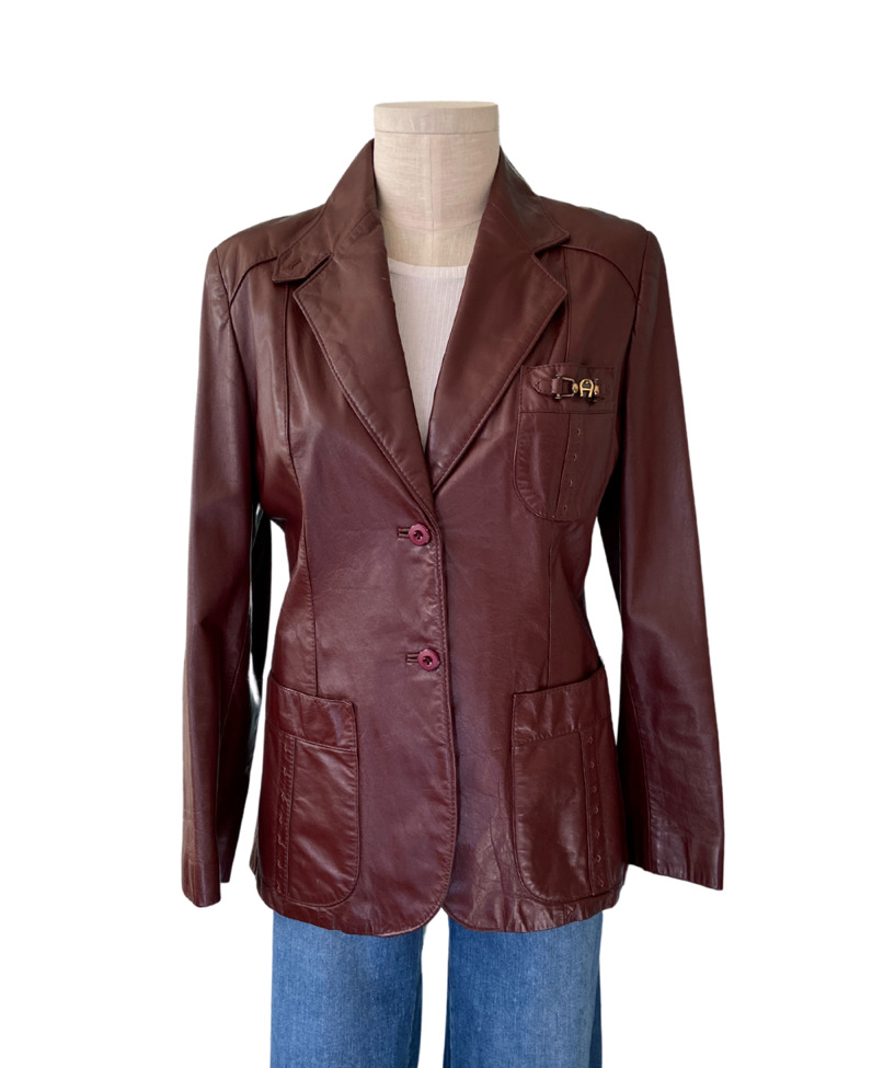 1970s Etienne Aigner Brown Fitted Blazer leather … - image 1