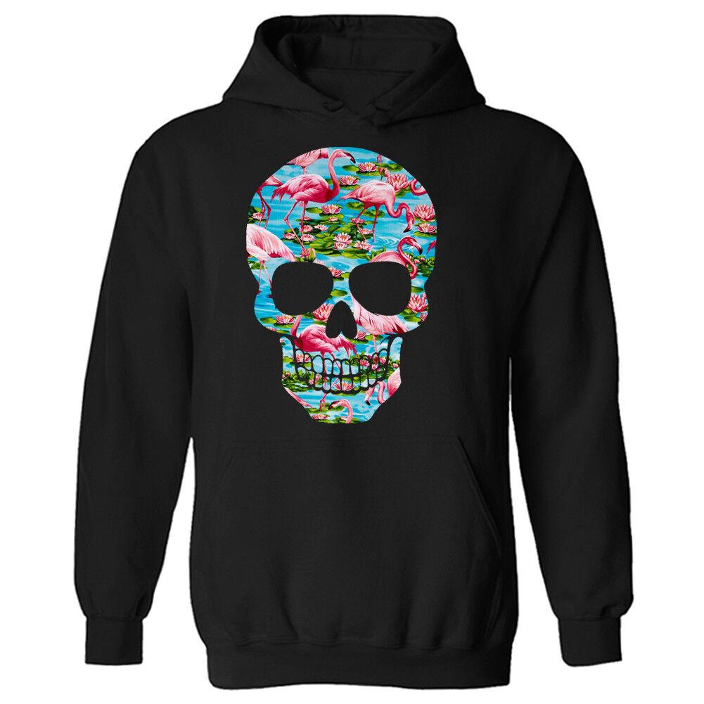 4a1ea1f38a174 Flamingo Tropical Estampado Cráneo Unisex Jersey Sudadera Capucha Con Capucha  Sudadera 1e1f32