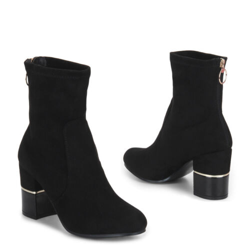 Adults Ladies Womens Vegan Faux Suede Black High Heel Mid Calf Ankle Sock Boots
