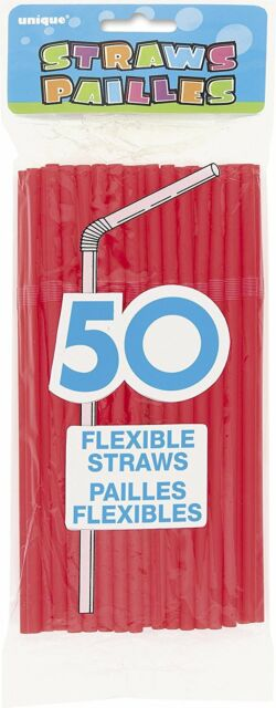 Party Tableware Flexible Red Plastic Straws Party Supplies Pack of 50