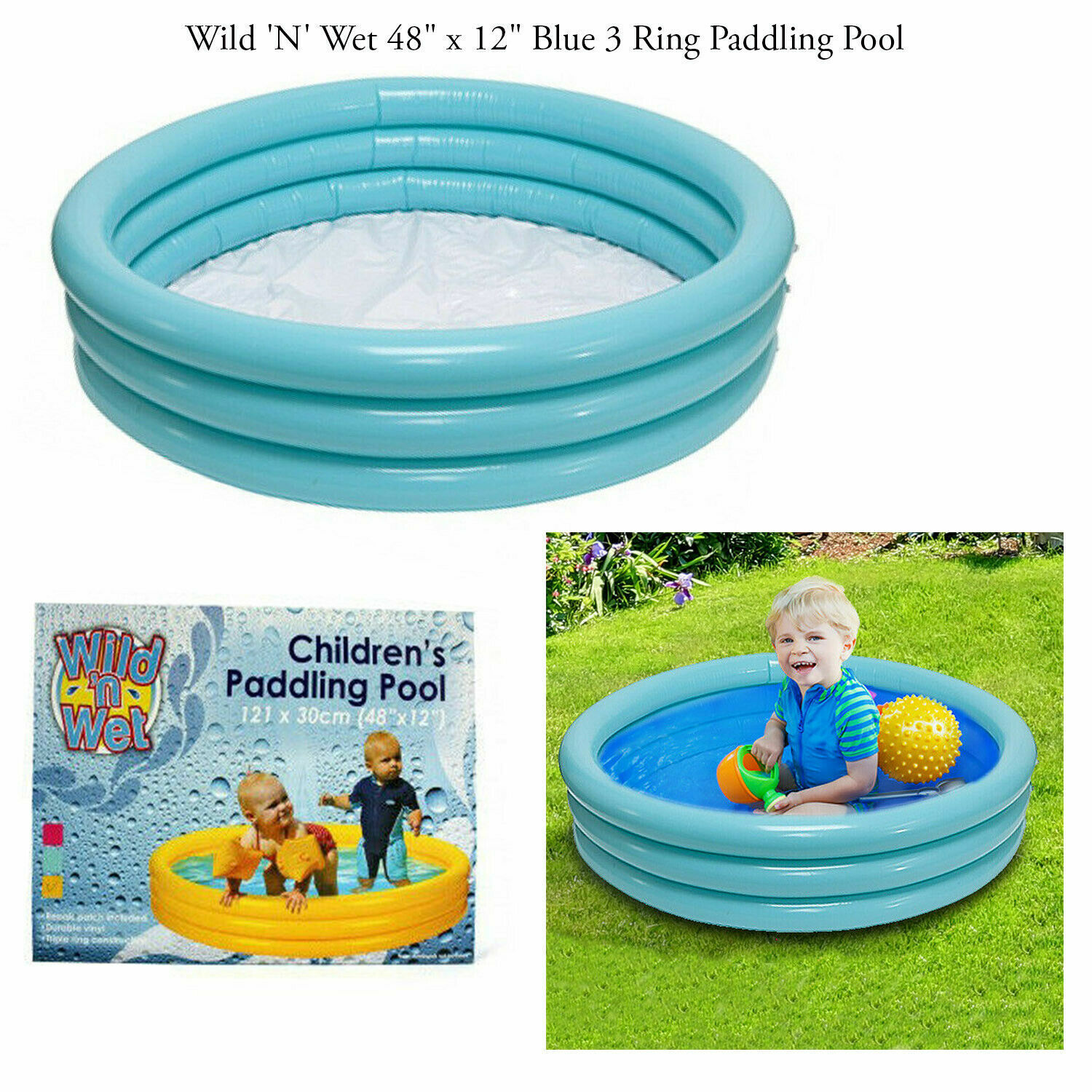 Kids Toddlers 48 x 12 Inch Blue 3 Ring Summer Garden Paddling Swimming Pool Toy