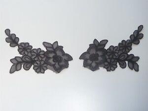 Cm cm beautiful pair of black applique flowers lace ebay