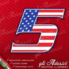 Adesivo Stickers NUMERO 5 moto auto cross gara USA Star & Stripes 5 cm