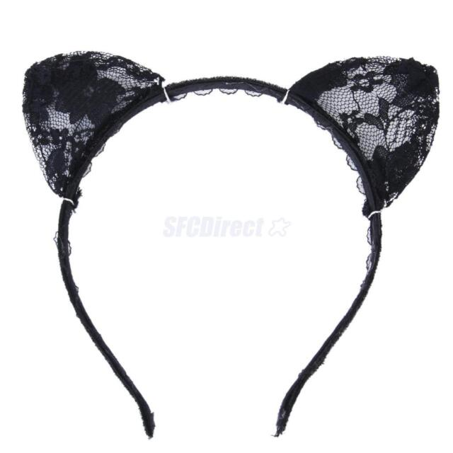 Black Lace Cat Ears Hairband Cosplay Fancy Dress Costume Masquerade Headband