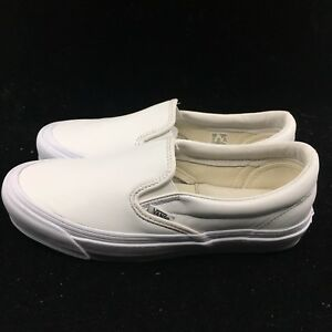 Vans-Vault-Original-Classic-Slip-on-en-Cuir-Blanc-Hommes-Femmes-Skate-Board-VN000UDF1NT