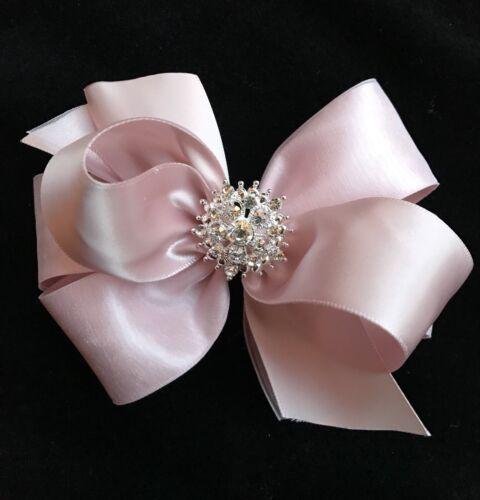 BLUSH Pink satin organza hair bow flower girl BIG rhinestone pearl 5 inch Cici/'s