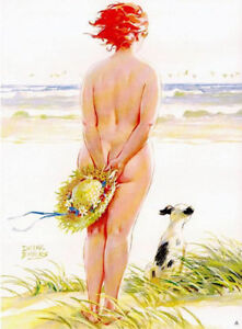 Vintage-Pin-Up-Art-Hilda-11-x-17-Matte-Paper-Pin-Up-Plus-Girl-62-At-the-Beach