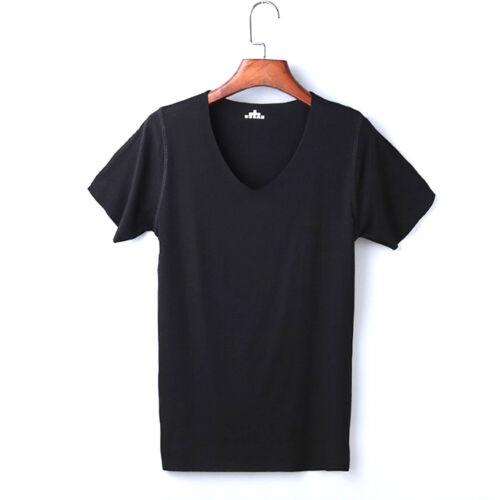 Men Thin Ice Silk t-Shirt Short Sleeve Slim V-neck Bottom Basic Fitness T-shirt#