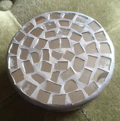 Mosaic Pie Trinket Storage Stash Jar Pill Round Box Mini Handmade India Vintage