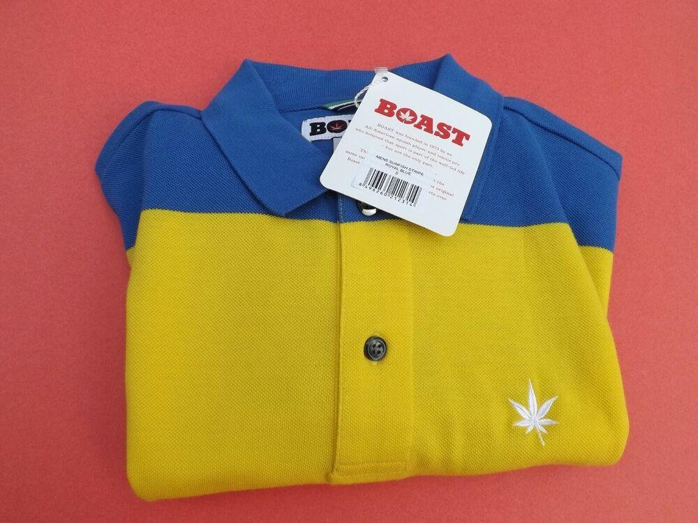 1 Neuf Avec étiquettes Se Vanter D'homme à Manches Courtes Polo Shirt S Bleu/jaune/or/rouge Avec Pot Leaf-/red W/pot Leaf Fr-frafficher Le Titre D'origine