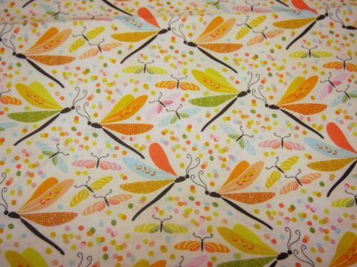 Jardin danseurs papillon libellule orange FQ plus Michael Miller Tissu Coton
