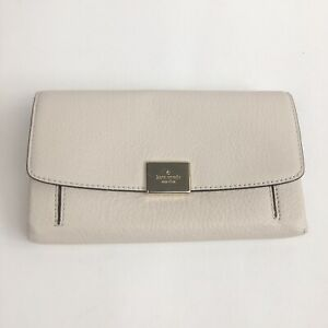 NWT-Kate-Spade-White-Pebble-Leather-Jaimie-Terrace-Place-Clutch-Wallet-New-200