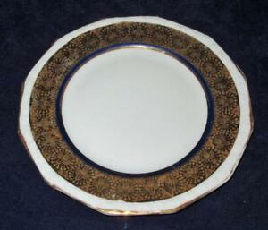 """Bread Plate Germany Rosenthal China 6/"""" White w//Gold Band Encrusted Diamonds"""