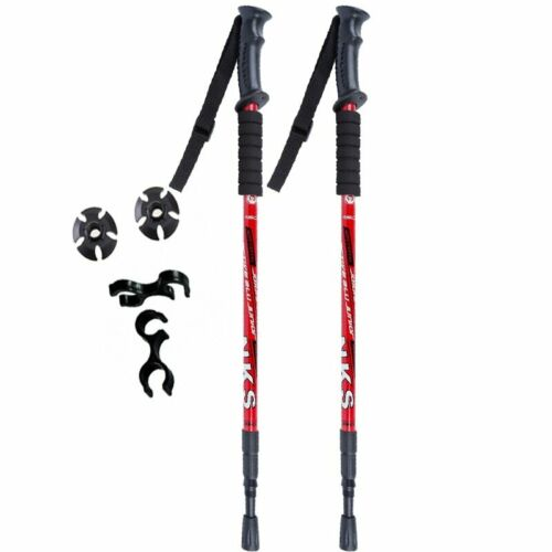 2Pcs//lot Anti Shock Nordic Walking Sticks Telescopic Trekking Hiking Poles