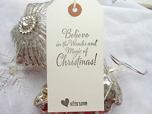Christmas Gift Tags Handmade.Details About 10 White Believe In The Magic Christmas Gift Tags Handmade Vintage Style