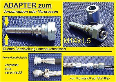 Adapter M14x1,5 gerade - Zum Anschrauben von 8mm  Kraftstoffleitungen (Innen)