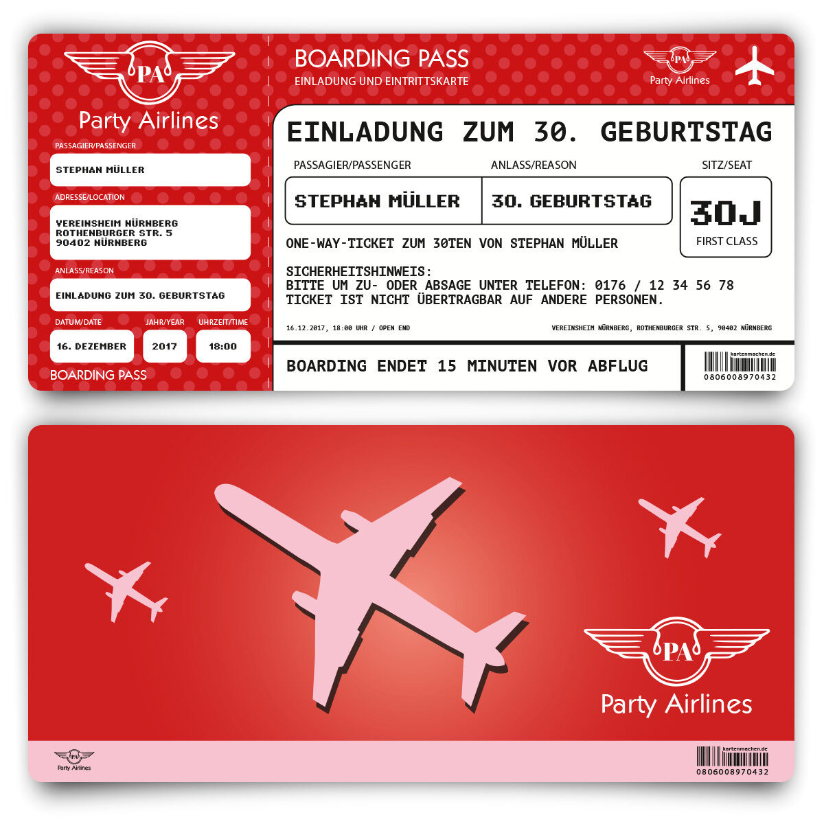 Einladungskarten zum Geburtstag als Flugticket Party Ticket Karte Rot