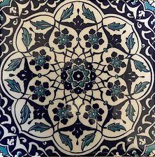 "Turkish Blue & White 8""x8"" (20cmx20cm) Iznik Daisy & Floral Pattern Ceramic Tile"