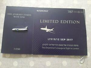 Israel EL AL airlines 787 inaugural flight LY315 Tel  Aviv to London & PIN...