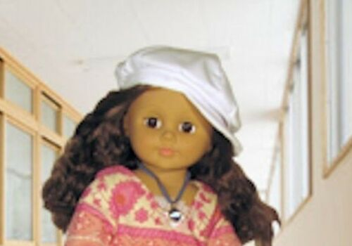 """Doll Clothes AG 18/"""" Hat Newsboy White Corduroy Made To Fit American Girl Dolls"""