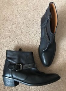 Eur Shoes Boots Black Uk 36 Heel Zara Vgc Ankle Small Leather 3 qw0anIxt