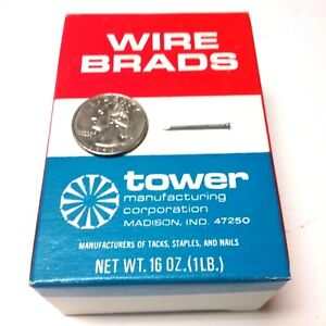 1-LB-Box-of-7-8-034-18-Ga-Wire-Brads-Tower-Manufacturing-Company-USA