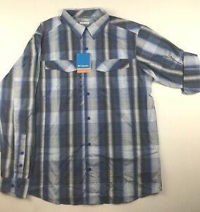 Columbia-Mens-XL-Silver-Ridge-Blue-Plaid-Roll-Up-Long-Sleeve-Shirt-Button-Up