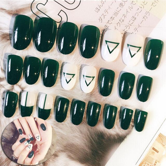 24pcs acrylic fashion fake finger nails full cover false nail art tips diy ES