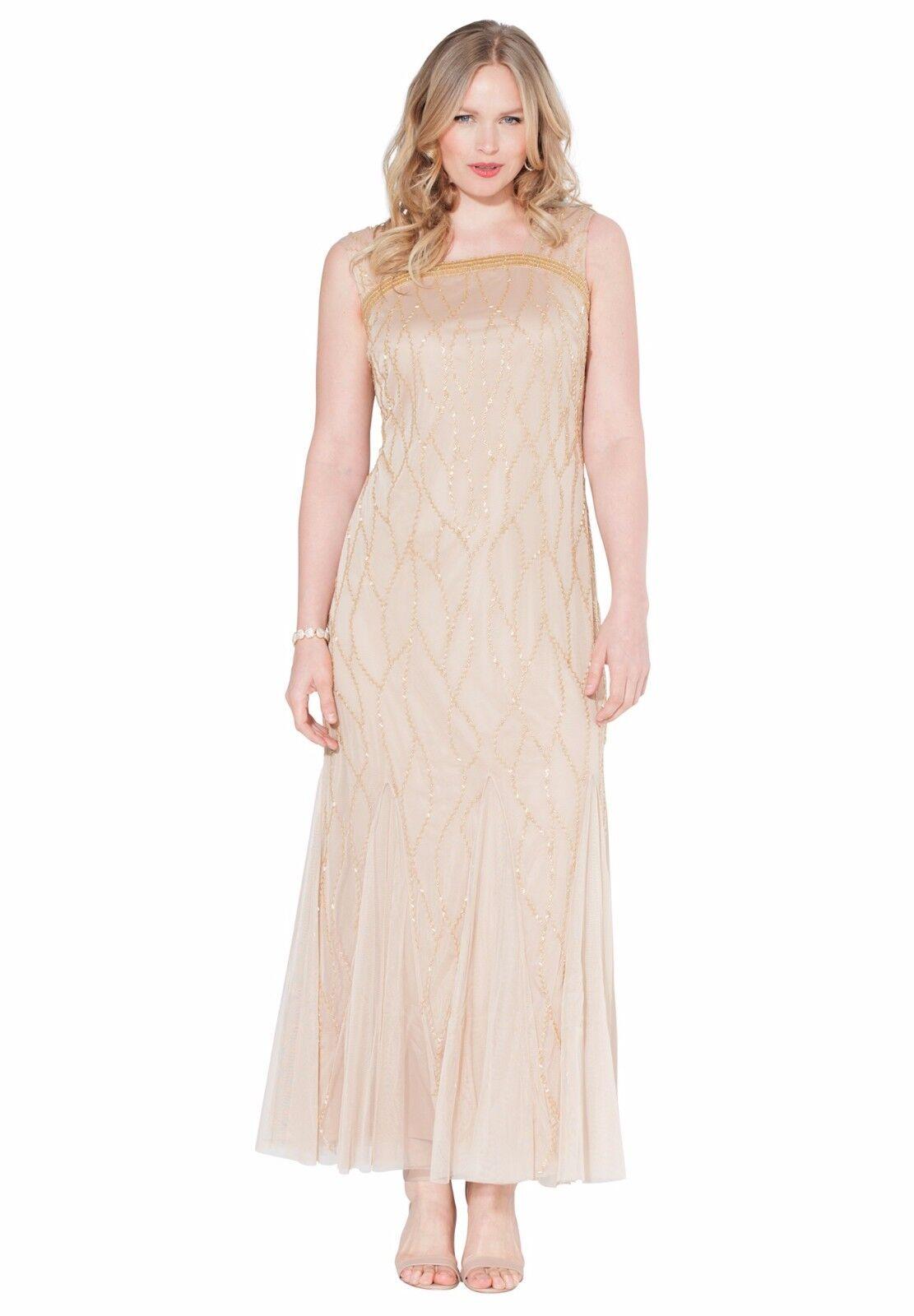 Beaded Goddess Full Length Dress Sparkling Champange 14W - 24W Plus Größe